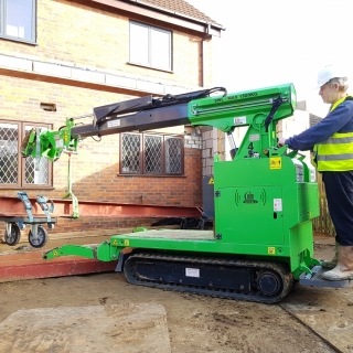 Moving 450kg steel I-beam for installation with the Hooka, precision lift image 2. Hired from Hook-up Solutions call 07971 174 523 for Southern Hire or 01462 499 642 for Eastern Hire