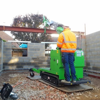 The Hooka easily moving a 450kg steel I-beam in tight access site. Hired from Hook-up Solutions call 07971 174 523 for Southern Hire or 01462 499 642 for Eastern Hire