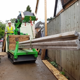 The Hooka moving heavy concrete beams on site with restricted access. Hired from Hook-up Solutions call 07971 174 523 for Southern Hire or 01462 499 642 for Eastern Hire