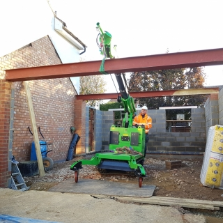 The Hooka on hire lifting a RSJ Beam into position. Hired from Hook-up Solutions call 07971 174 523 for Southern Hire or 01462 499 642 for Eastern Hire