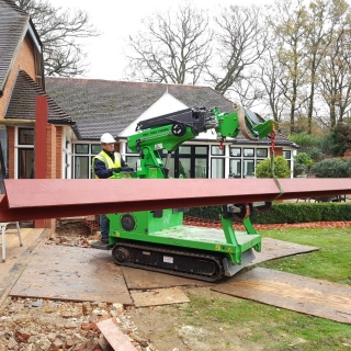 The Hooka lifting 350kg steel i-beam and moving to point of installation easily and safely