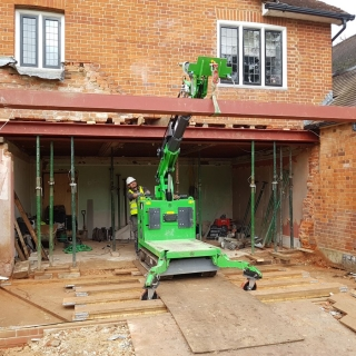 The Hooka safely and easily installing 300kg cross steel i-beam at a height of 2600mm
