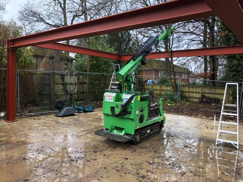 Steel Beam Portal Frame Installation in Farnham