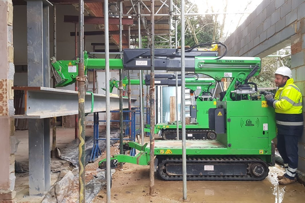 Installing a Long Steel Beam in Caterham
